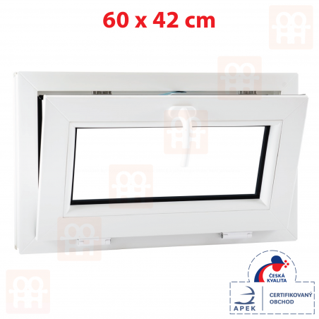 Plastové okno | 60x42 cm (600x420 mm) | biele | sklopné | pivničné | 6 komôr