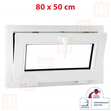 Plastové okno | 80x50 cm (800x500 mm) | biele | sklopné | pivničné | 6 komôr