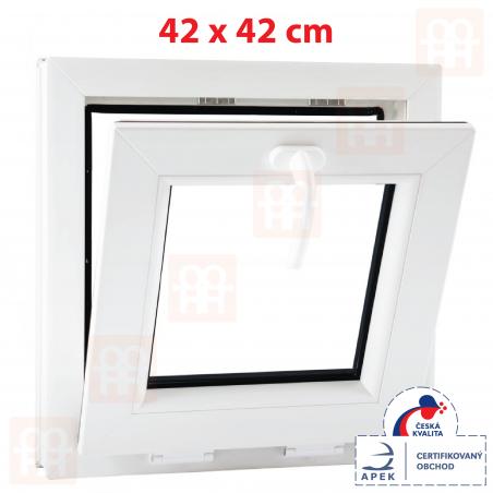 Plastové okno | 42x42 cm (420x420 mm) | biele | sklopné | pivničné | 6 komôr