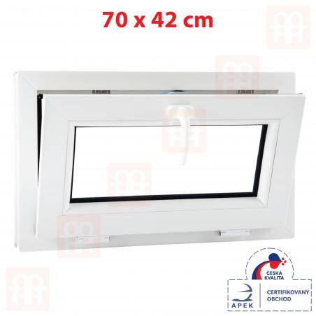 Plastové okno | 70x42 cm (700x420 mm) | biele | sklopné | pivničné | 6 komôr