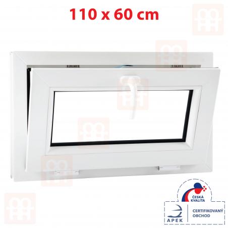 Plastové okno | 110x60 cm (1100x600 mm) | biele | sklopné | pivničné | 6 komôr