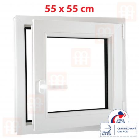 Plastové okno | 55 x 55 cm (550 x 550 mm) | biele | otváravé aj sklopné | pravé | 6 komôr