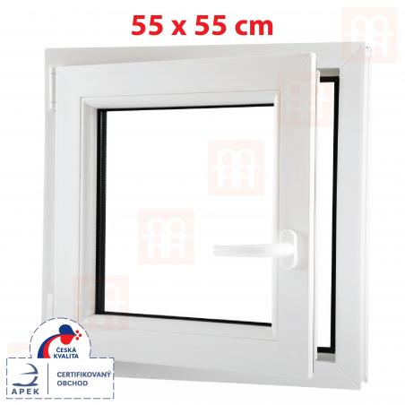 Plastové okno | 55x55 cm (550x550 mm) | biele | otváravé aj sklopné | ľavé | 6 komôr