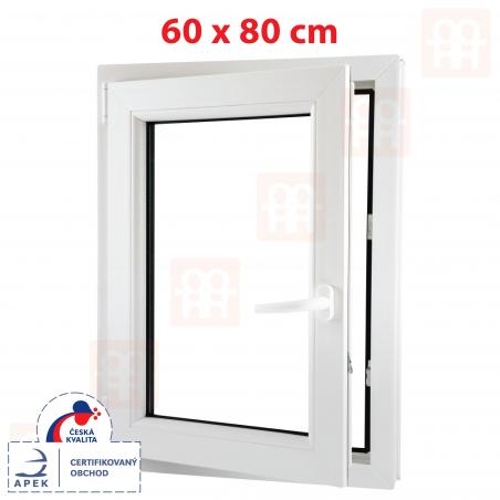 Plastové okno | 60x80 cm (600x800 mm) | biele | otváravé aj sklopné | ľavé | 6 komôr