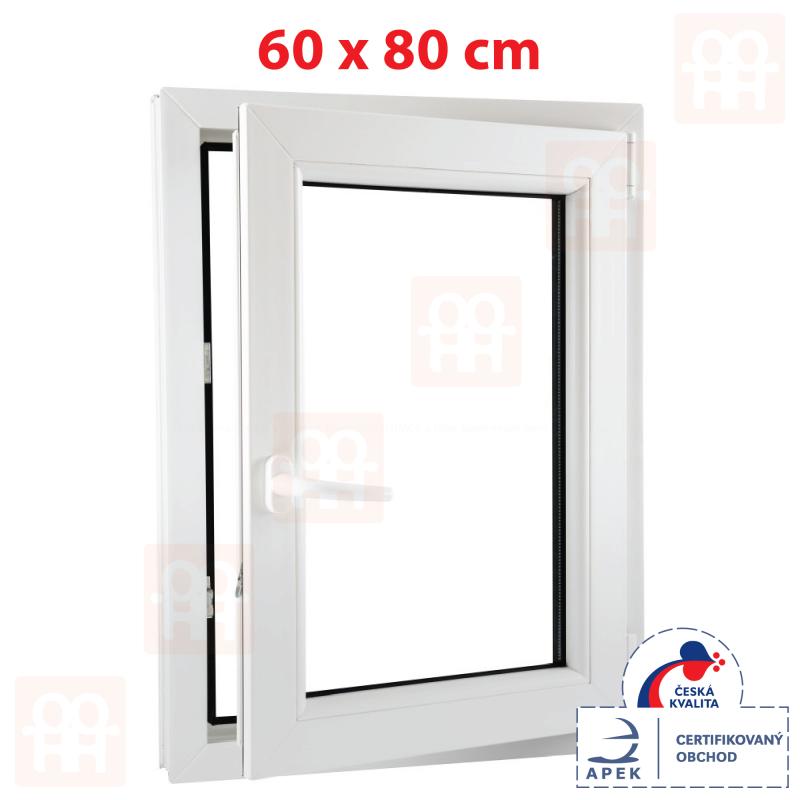Plastové okno 60 x 80 cm, otváravé aj sklopné, biele, pravé