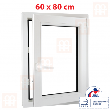 Plastové okno | 60 x 80 cm (600 x 800 mm) | biele | otváravé aj sklopné | pravé | 6 komôr