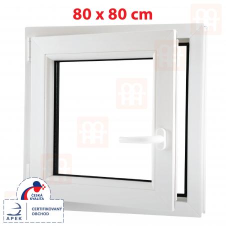 Plastové okno | 80x80 cm (800x800 mm) | biele | otváravé aj sklopné | ľavé | 6 komôr