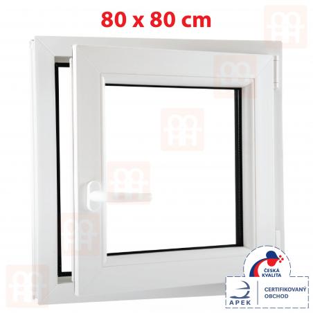 Plastové okno | 80 x 80 cm (800 x 800 mm) | biele | otváravé aj sklopné | pravé | 6 komôr