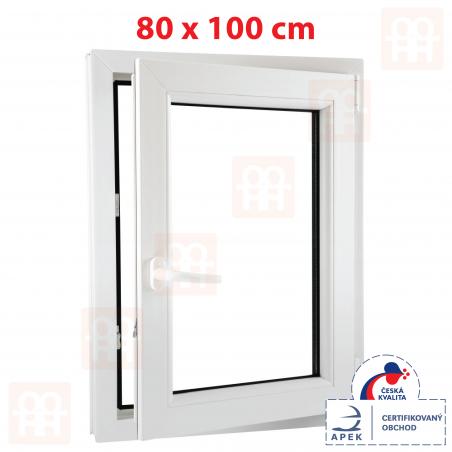 Plastové okno | 80 x 100 cm (800 x 1000 mm) | biele | otváravé aj sklopné | pravé | 6 komôr