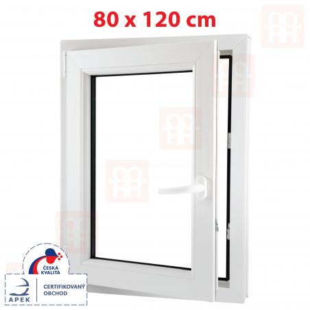 Plastové okno | 80x120 cm (800x1200 mm) | biele | otváravé aj sklopné | ľavé | 6 komôr