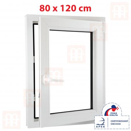 Plastové okno | 80 x 120 cm (800 x 1200 mm) | biele | otváravé aj sklopné | pravé | 6 komôr