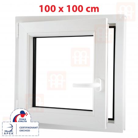Plastové okno | 100x100 cm (1000x1000 mm) | biele | otváravé aj sklopné | ľavé | 6 komôr