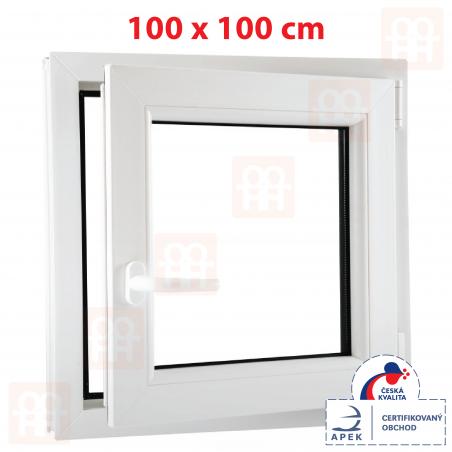 Plastové okno   100 x 100 cm (1000 x 1000 mm)   biele   otváravé aj sklopné   pravé   6 komôr