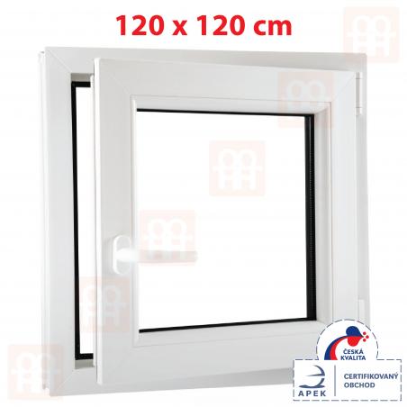 Plastové okno | 120 x 120 cm (1200 x 1200 mm) | biele | otváravé aj sklopné | pravé | 6 komôr
