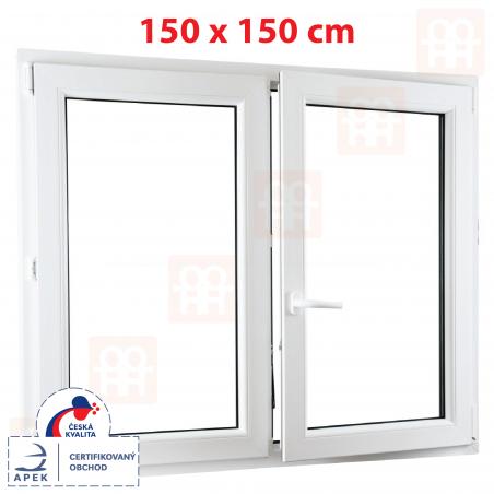 Plastové okno | 150 x 150 cm (1500 x 1500 mm) | biele | dvojkrídlové | bez stĺpika (štulp) | pravé | 6 komôr