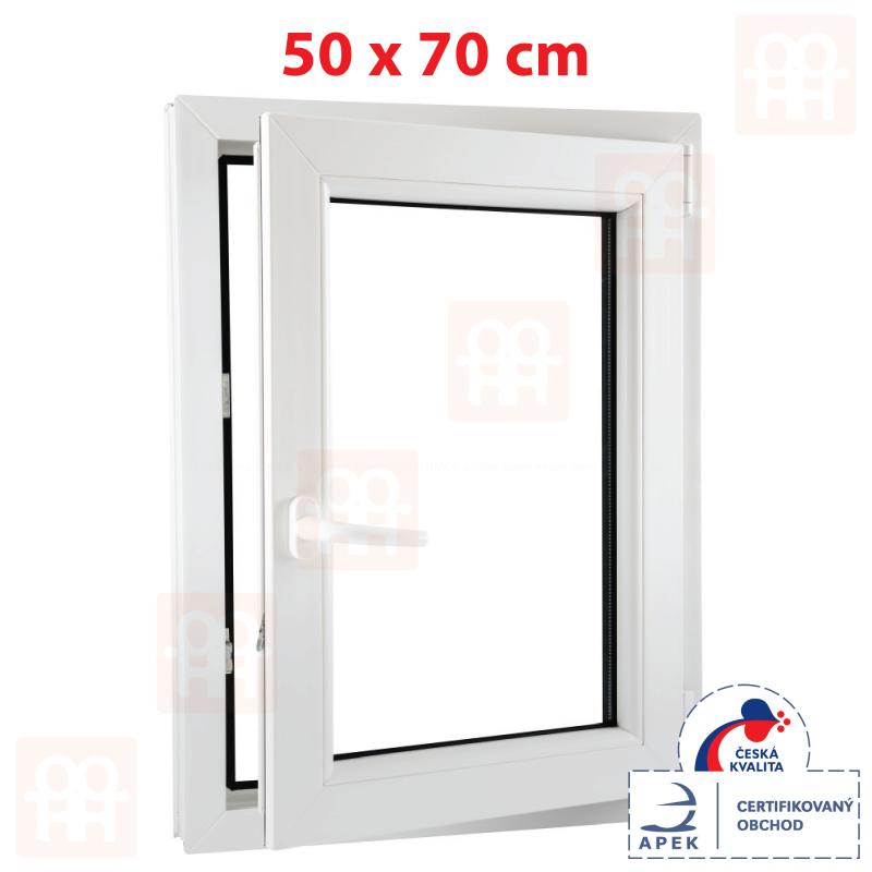 Plastové okno 50 x 70 cm, otváravé aj sklopné, biele, pravé