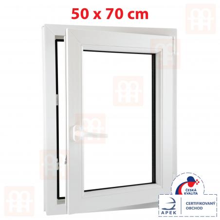 Plastové okno | 50 x 70 cm (500 x 700 mm) | biele | otváravé aj sklopné | pravé | 6 komôr