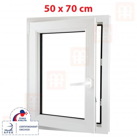 Plastové okno | 50x70 cm (500x700 mm) | biele | otváravé aj sklopné | ľavé | 6 komôr