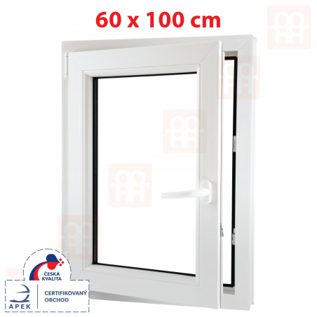 Plastové okno   60x100 cm (600x1000 mm)   biele   otváravé aj sklopné   ľavé   6 komôr
