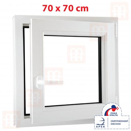 Plastové okno | 70 x 70 cm (700 x 700 mm) | biele | otváravé aj sklopné | pravé | 6 komôr