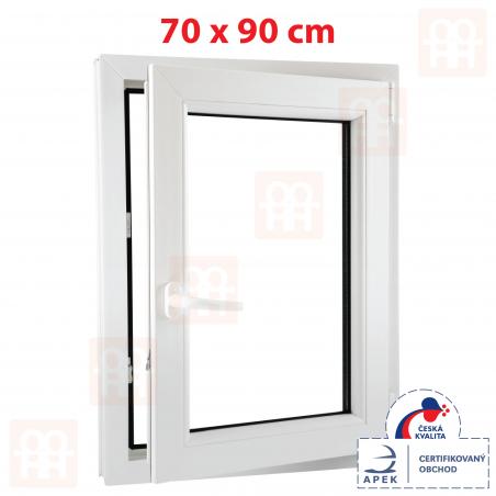 Plastové okno | 70 x 90 cm (700 x 900 mm) | biele | otváravé aj sklopné | pravé | 6 komôr