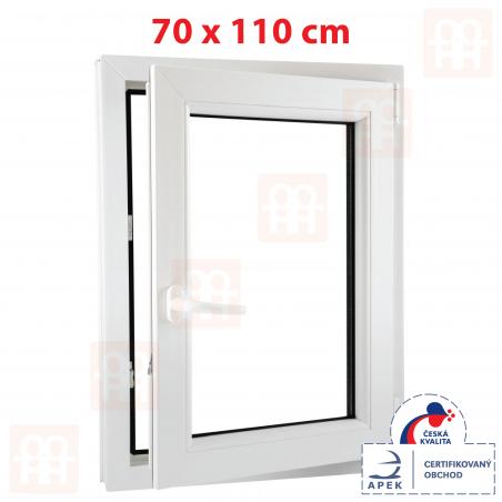 Plastové okno | 70 x 110 cm (700 x 1100 mm) | biele | otváravé aj sklopné | pravé | 6 komôr