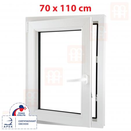 Plastové okno | 70x110 cm (700x1100 mm) | biele | otváravé aj sklopné | ľavé | 6 komôr