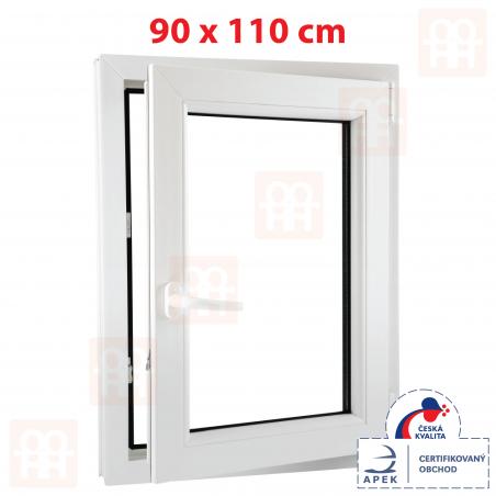 Plastové okno | 90 x 110 cm (900 x 1100 mm) | biele | otváravé aj sklopné | pravé| 6 komôr