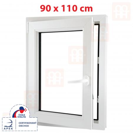 Plastové okno   90x110 cm (900x1100 mm)   biele   otváravé aj sklopné   ľavé   6 komôr