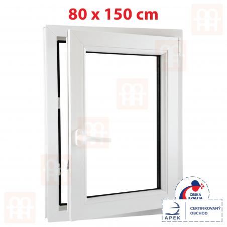 Plastové okno | 80 x 150 cm (800 x 1500 mm) | biele | otváravé aj sklopné | pravé | 6 komôr