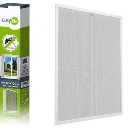 Hliníková okenná sieť proti hmyzu, 100x120 cm, bielá
