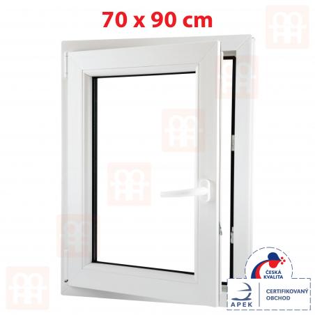 Plastové okno | 70x90 cm (700x900 mm) | biele | otváravé aj sklopné | ľavé | 6 komôr