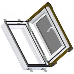 Bílé plastové střešní okno 55x78 cm s hnědým oplechováním, SKYLIGHT