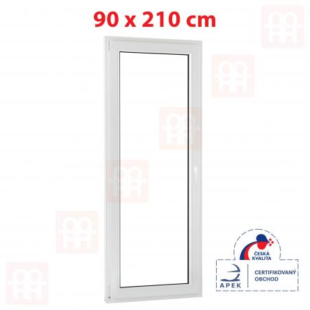 Plastové dvere | 90 x 210 cm (900 x 2100 mm) | biele | balkónové | otváravé aj sklopné | ľavé