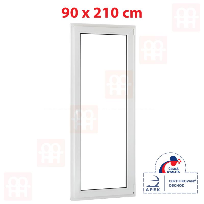 Plastové balkónové dvere 90x210 cm, biele, otváravé aj sklopné, pravé
