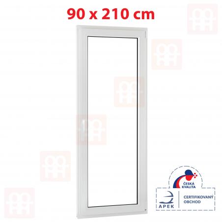 Plastové dvere | 90x210 cm (900x2100 mm) | biele | balkónové | otváravé aj sklopné | pravé