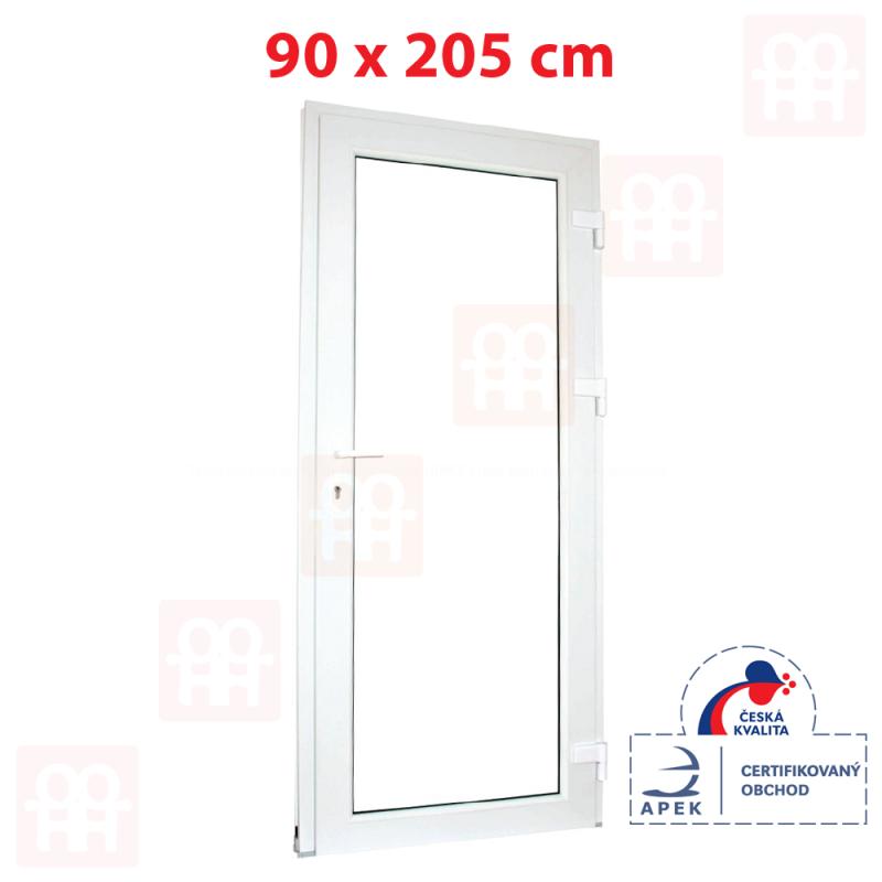 Plastové dveře | 90 x 205 cm (900 x 2050 mm) | bílé | prosklenné | pravé