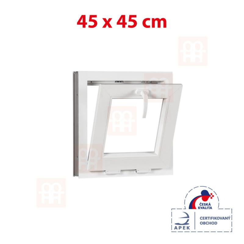 Plastové okno 45 x 45 cm, biele, sklopné