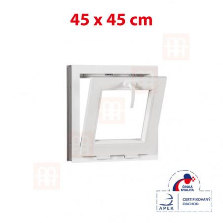 Sklopné plastové okno 45x45 cm (450x450 mm) | bílé | sklopné