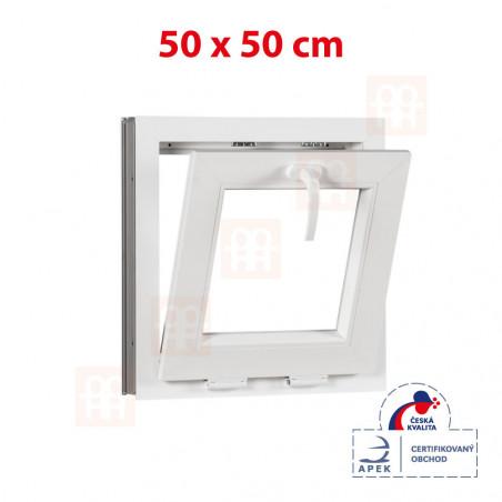 Plastové okno | 50x50 cm (500x500 mm) | biele | sklopné | pivničné
