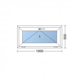 Plastové okno 100 x 50 cm, biele, sklopné