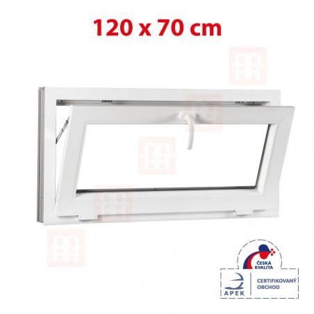 Plastové okno | 120x70 cm (1200x700 mm) | biele | sklopné | pivničné