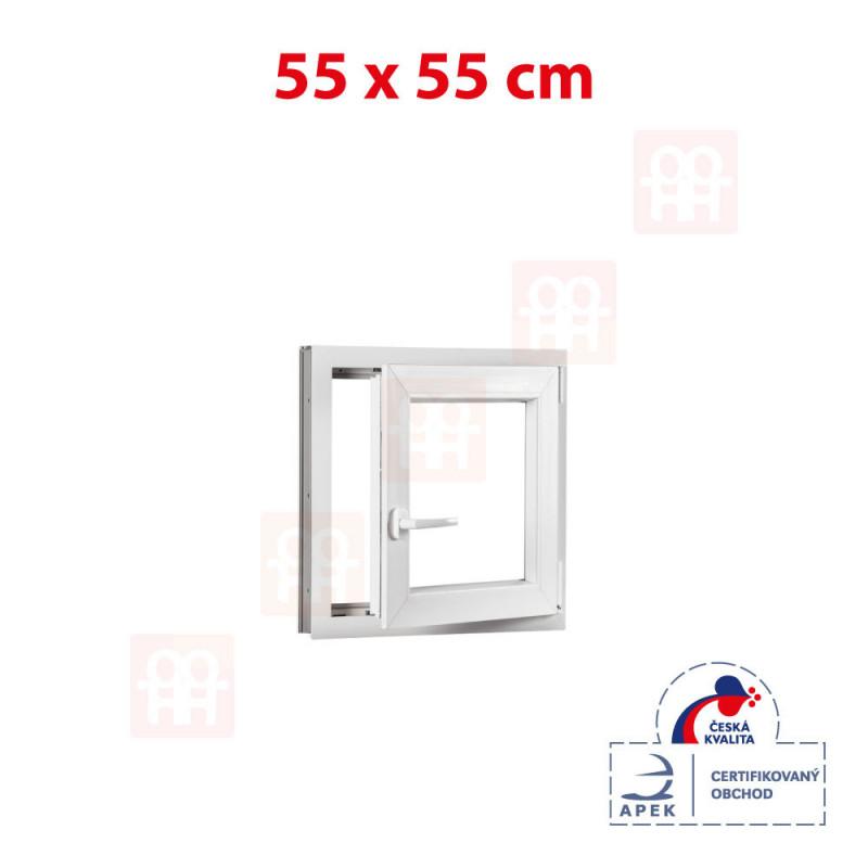 Plastové okno 55 x 55 cm, otváravé aj sklopné, biele, pravé