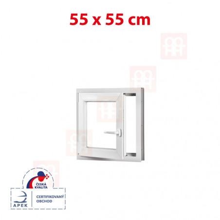 Plastové okno | 55x55 cm (550x550 mm) | biele | otváravé aj sklopné | ľavé