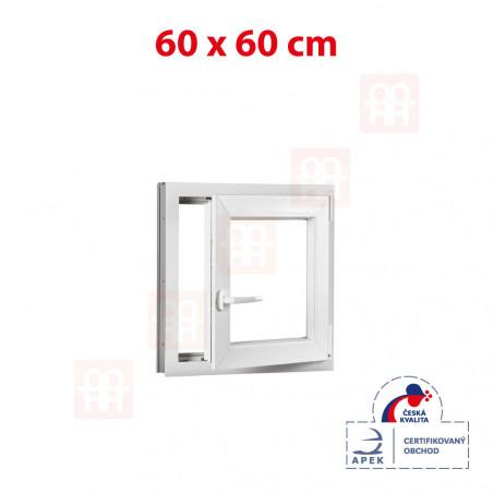 Plastové okno | 60 x 60 cm (600 x 600 mm) | biele | otváravé aj sklopné | pravé