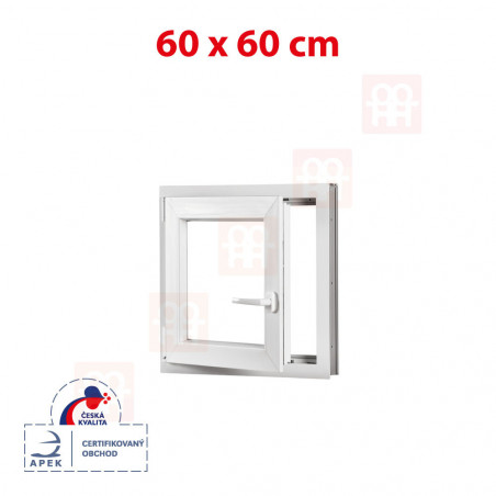 Plastové okno | 60x60 cm (600x600 mm) | biele | otváravé aj sklopné | ľavé