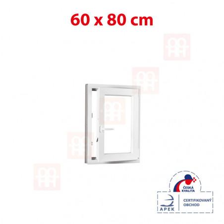 Plastové okno | 60 x 80 cm (600 x 800 mm) | biele | otváravé aj sklopné | pravé
