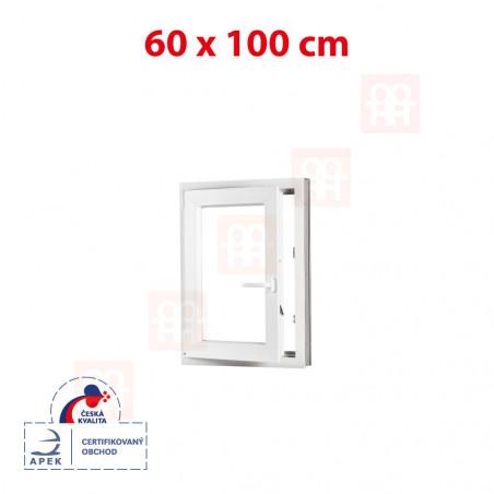 Plastové okno | 60x100 cm (600x1000 mm) | biele | otváravé aj sklopné | ľavé