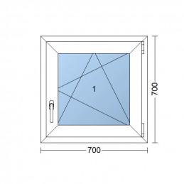 Plastové okno 70 x 70 cm, otváravé aj sklopné, biele, pravé