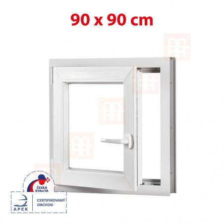 Plastové okno   90x90 cm (900x900 mm)   biele   otváravé aj sklopné   ľavé